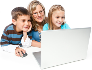 Family buying school uniform online